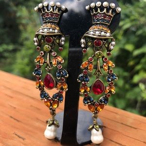 Heidi Daus Vintage Crowned Jewels RARE Earrings
